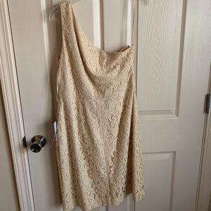 Jcrew one shoulder Ivory lace dress